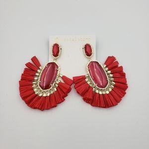 Kendra Scott Cristina Red Raffia Tassels Earrings  With Box and Bag